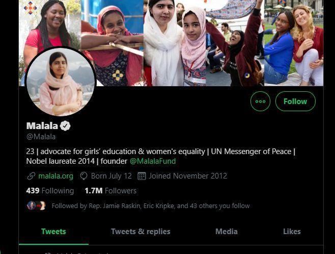 14. Malala Yousafzai's tweet