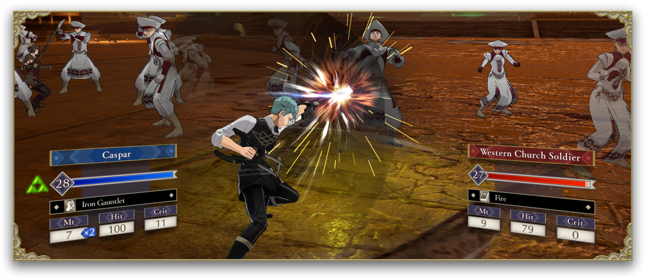 Caspar punches a monk in Fire Emblem: Three Houses (2019)
