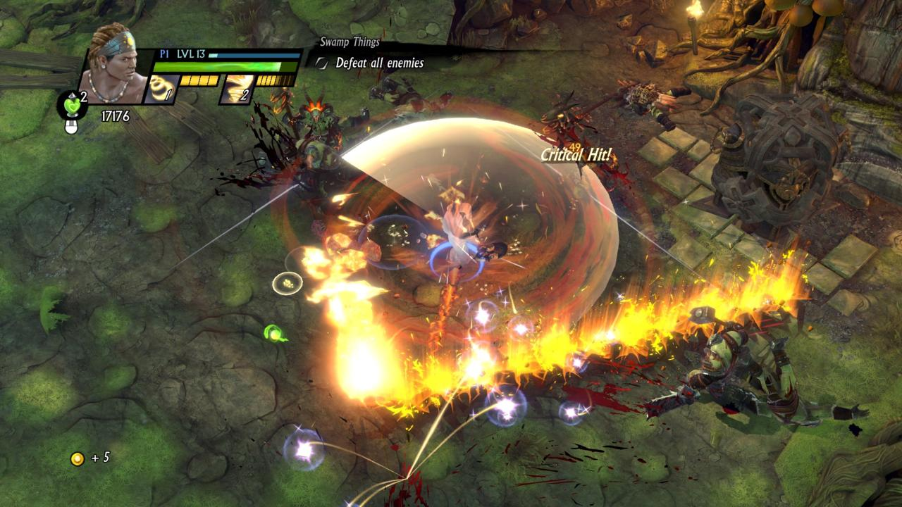 Battles crowd the screen with so many whirling blades and magical pyrotechnics that you can lose track of your hero.