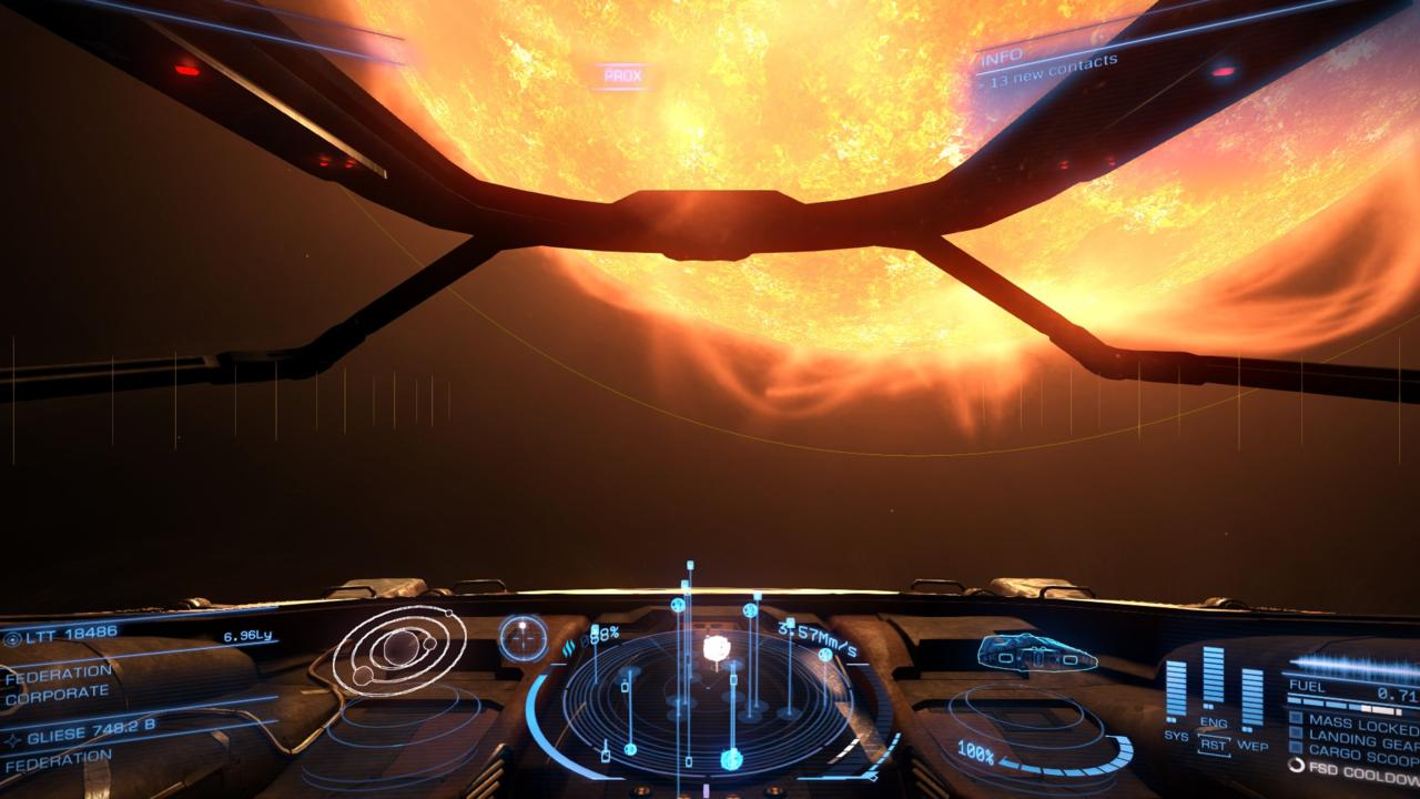 Exiting hyperdrive up-close and personal with a star is wonderfully jarring.