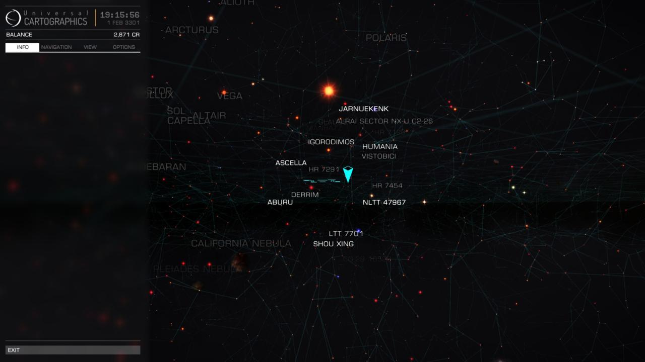 Elite: Dangerous' galaxy map zooms from galaxy-wide, down to individual stars.