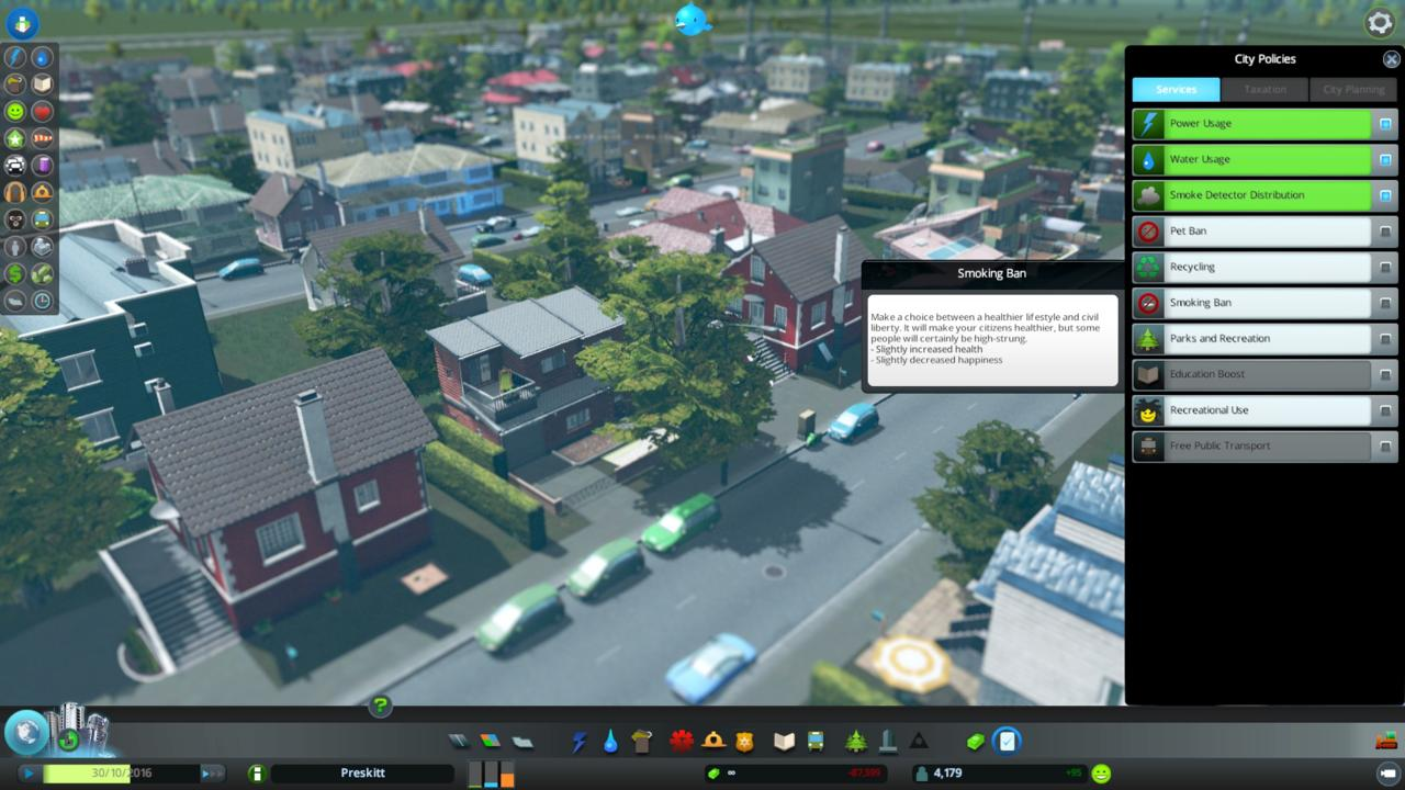 Is it too geeky to be excited about the use of zoning rules and policies in a city-building game?