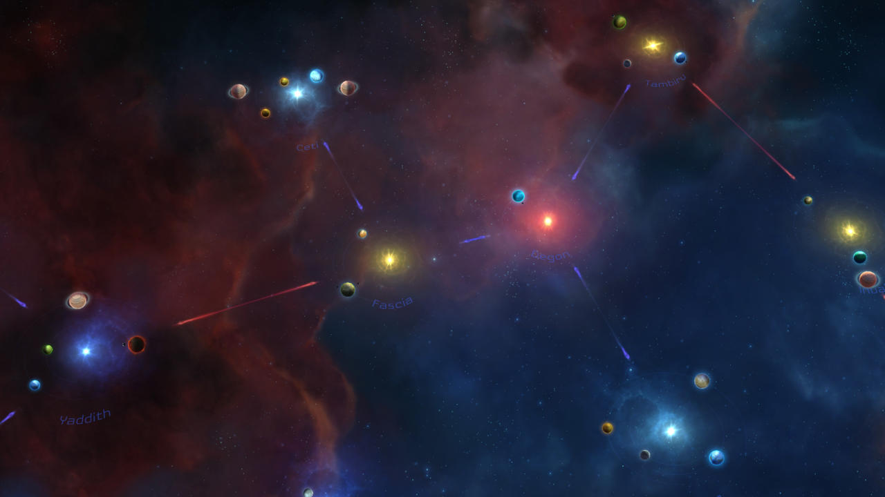 The star map necessitates strategic thinking as you close off warp points and defend key solar systems.