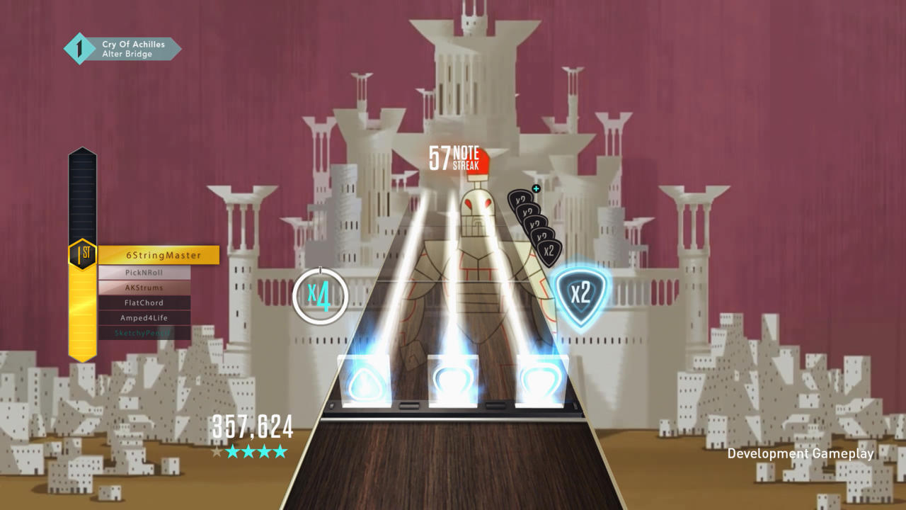 GHTV layers gameplay over each song's official music video, though in some cases it uses concert footage instead.