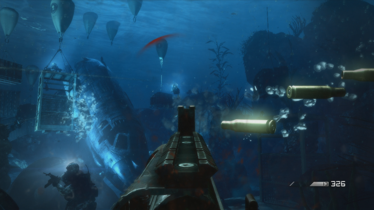 Ghosts is full of atmospheric touches, like bubbles discharging from your gun when fired underwater.