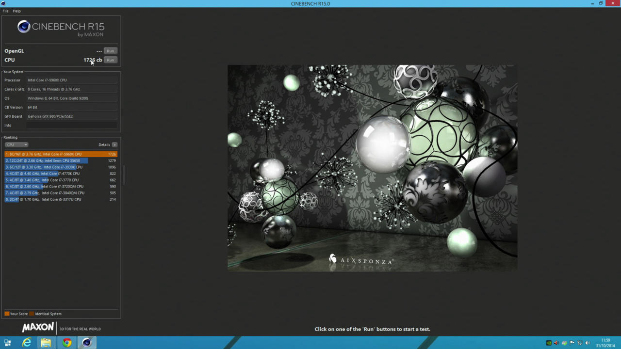 Cinebench is great for testing multithreaded workloads, with the score of 1726 reflecting the CPU's impressive core count.