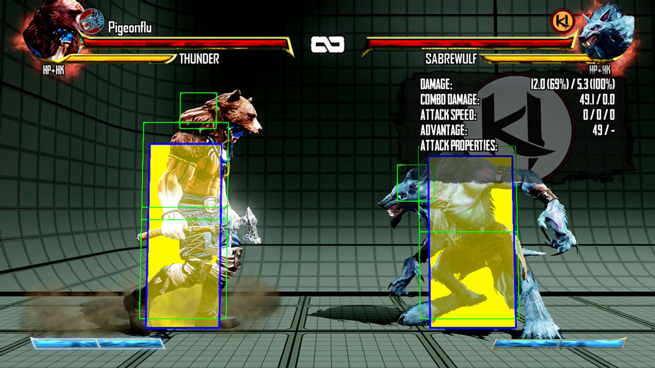 Practice mode features some very helpful tools, including frame data and hit box display.