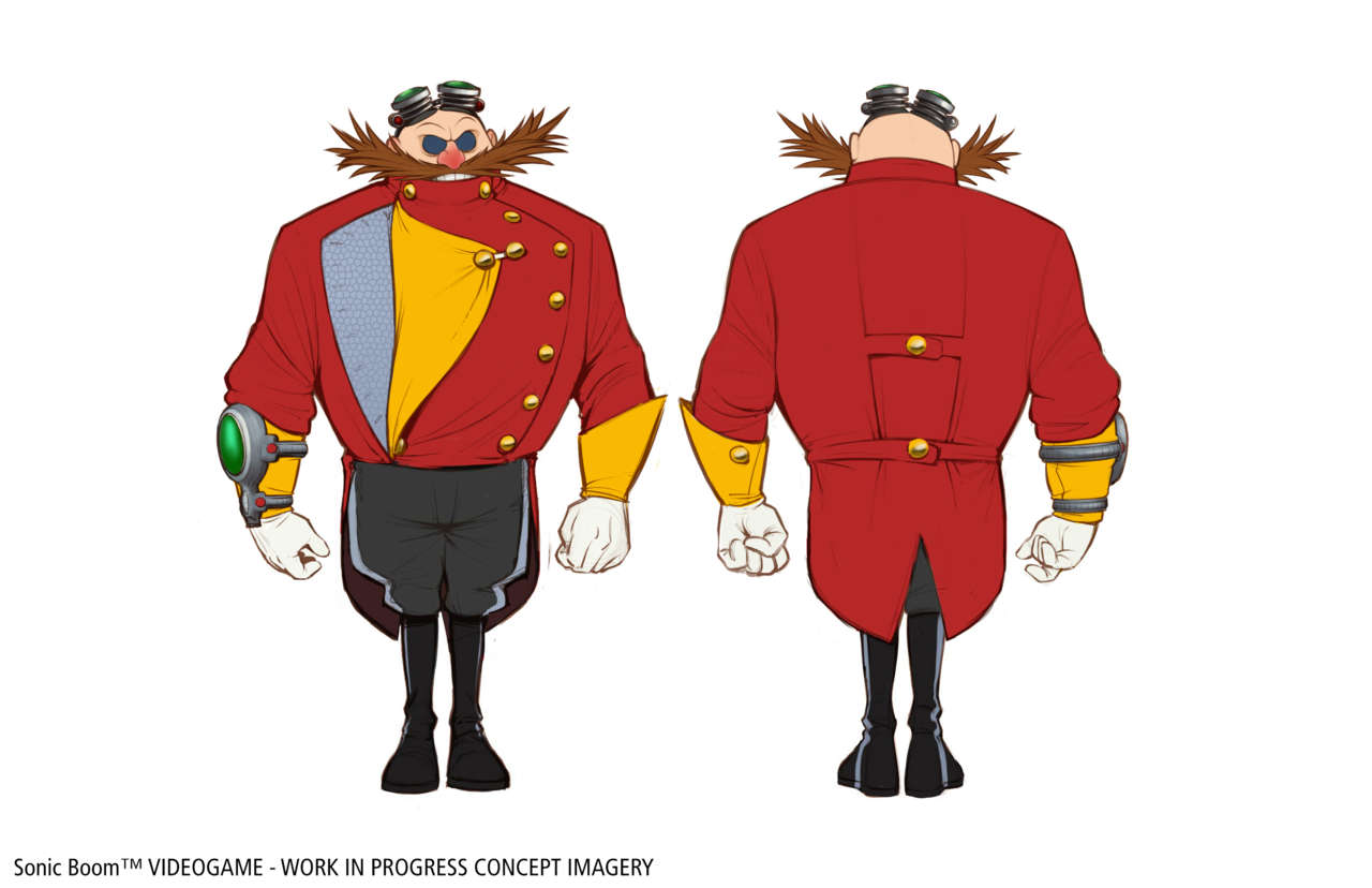 Doctor Eggman's formal attire was designed to play up his vanity, as opposed to the more practical garb of Sonic and friends.
