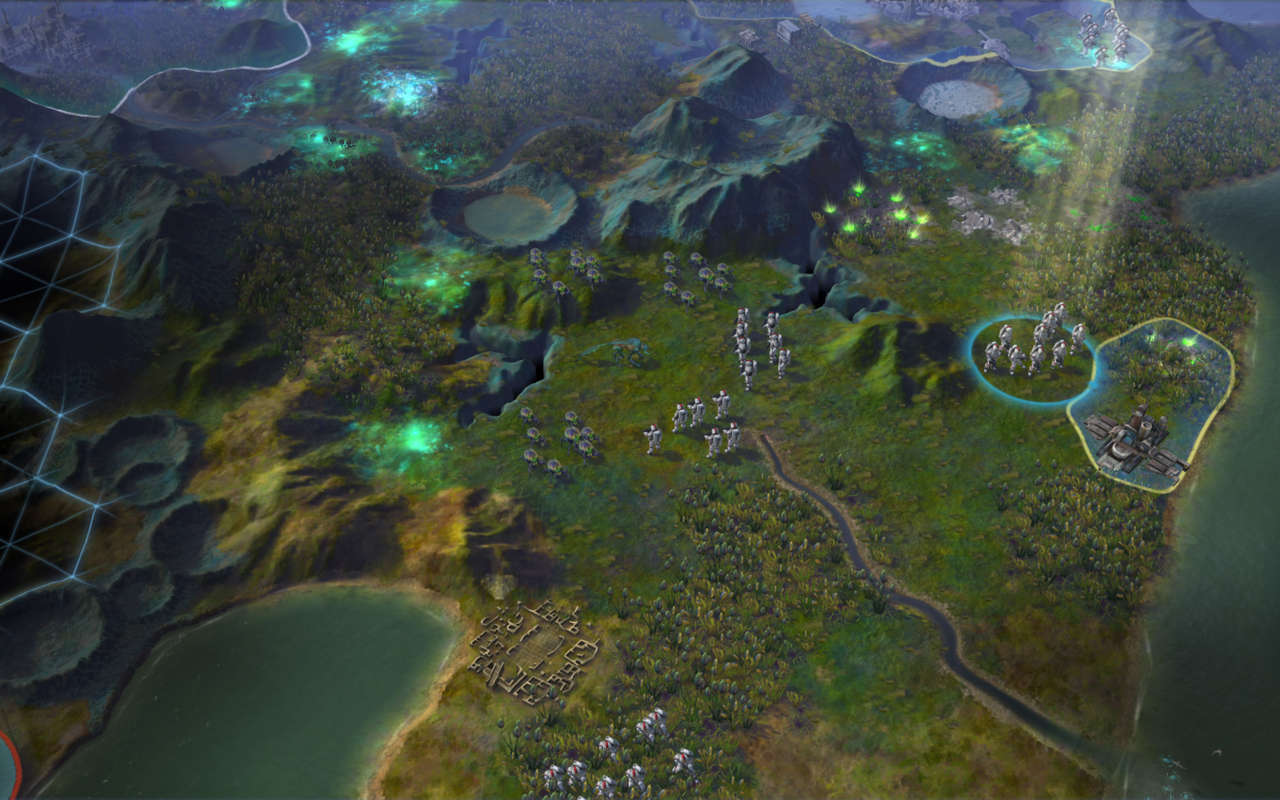 The new colonists encounter some local wildlife in this concept image of Beyond Earth.