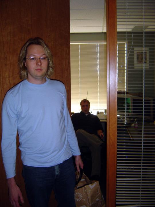 John Guthrie walks into the office in July 2004.