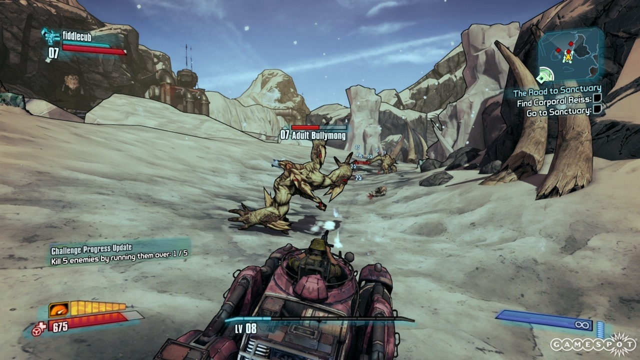 Race to see if you can run over creatures before your gunner shoots them dead!
