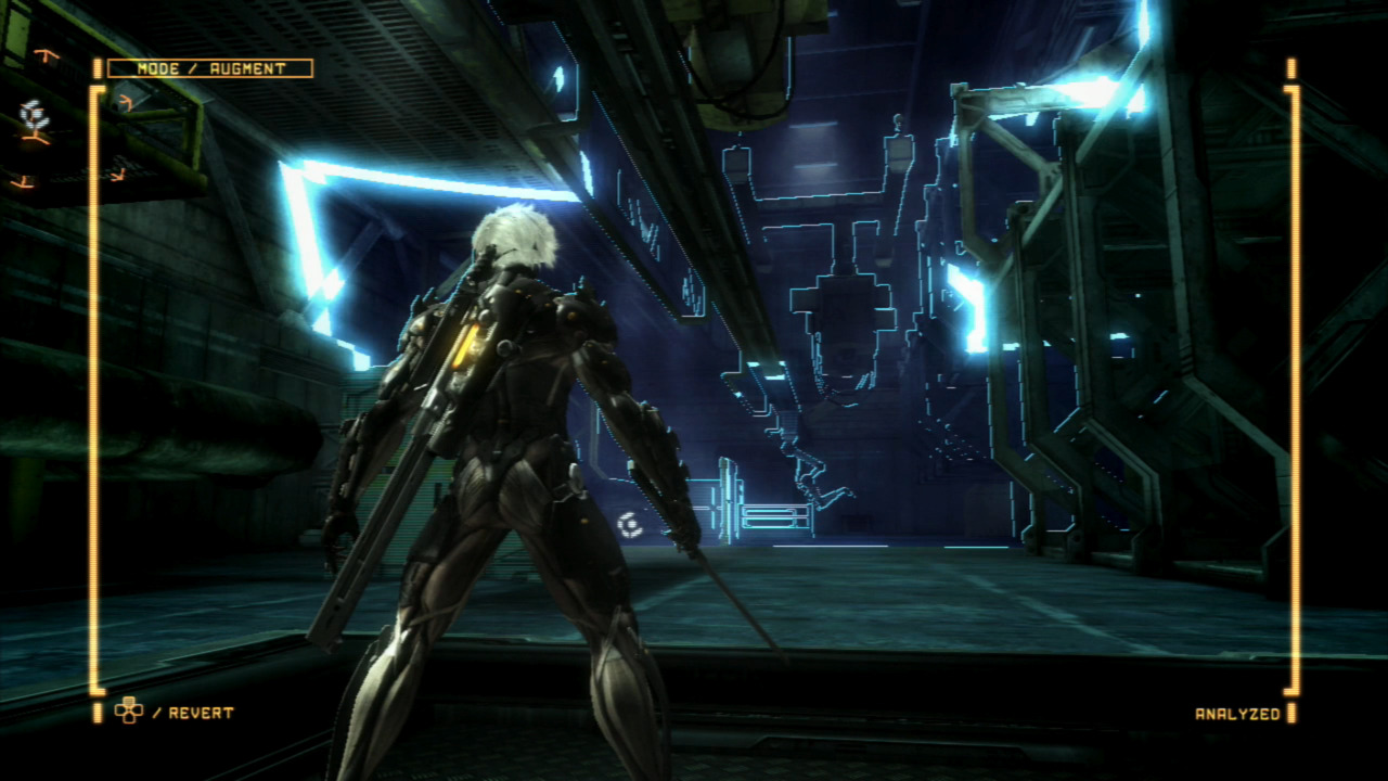 Raiden's augmented mode unveils hidden enemies and objects.