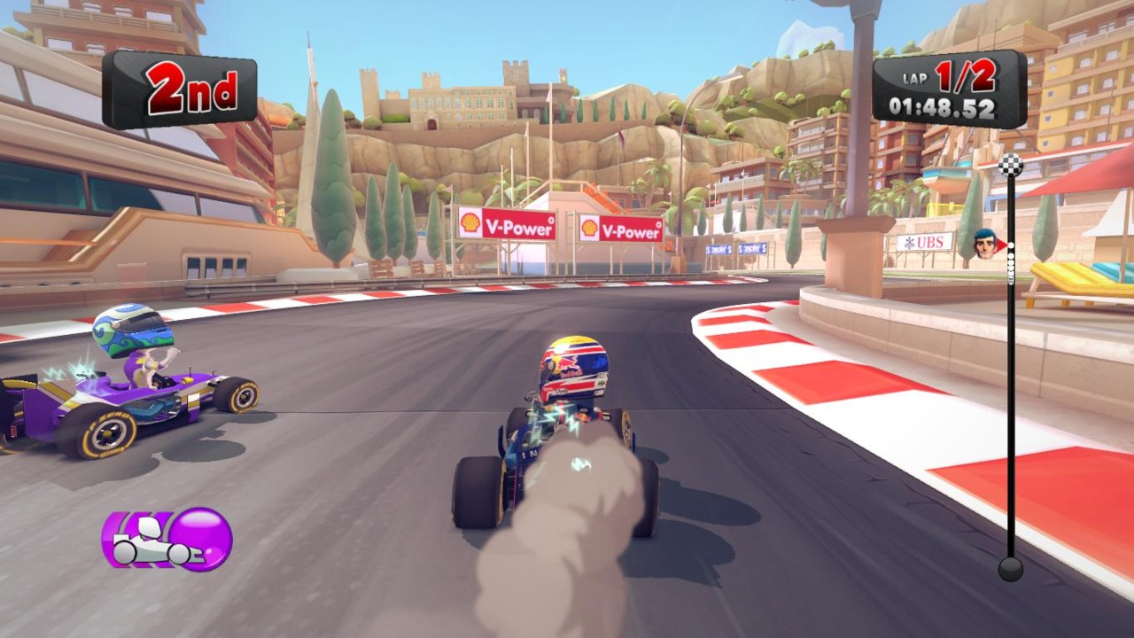 Product placement is expected in a Formula One game, but it sits at odds with the cartoon-like visuals.